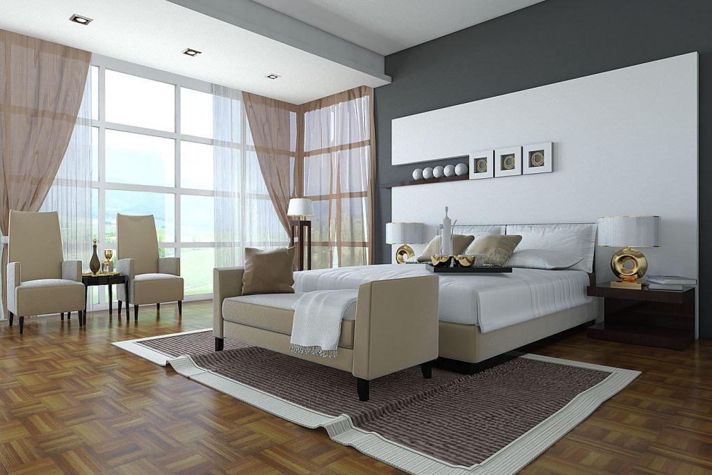 Дизайн спальни в светлых тонах с оттенками бежевого цвета