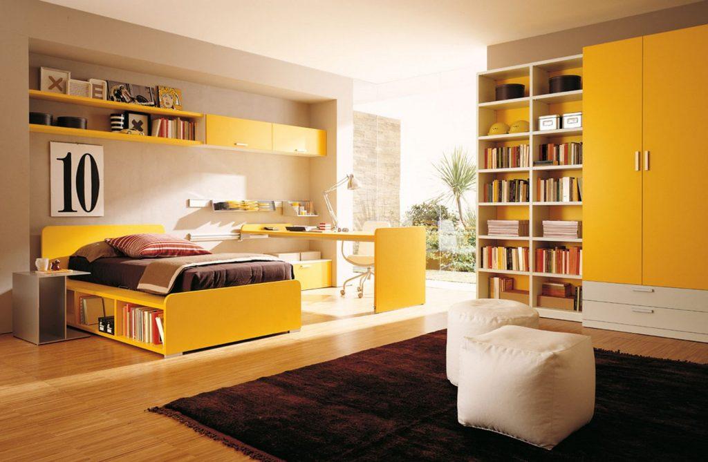Идеальный вариант дизайна спальни с ярким, динамичным желтым цветом