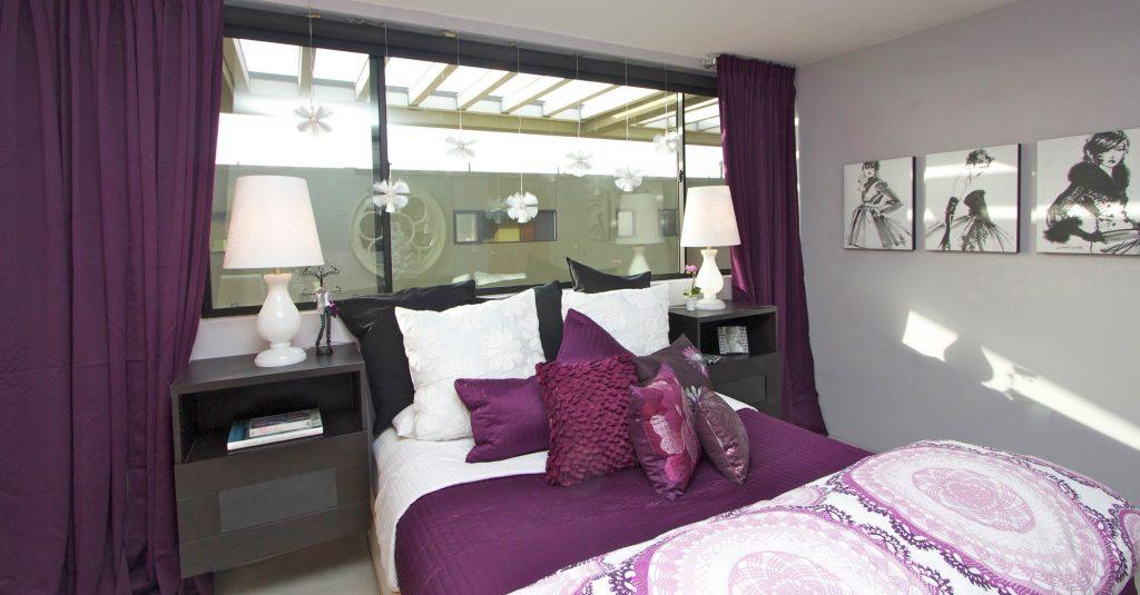 Комната для девочки-подростка 16 лет в фиолетовых тонах