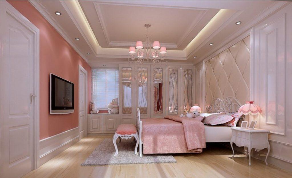 Нежно-розовый цвет придаёт интерьеру спальной комнаты романтичность