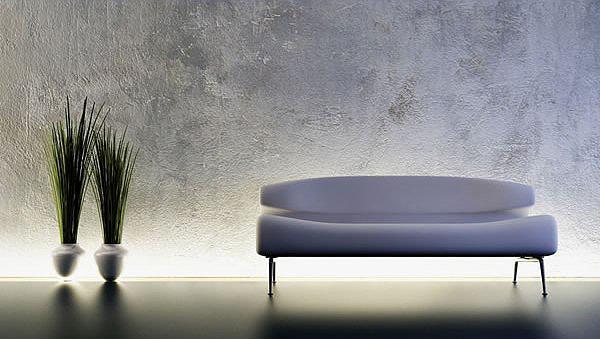 Необычно отделка, голые стены с подсветкой