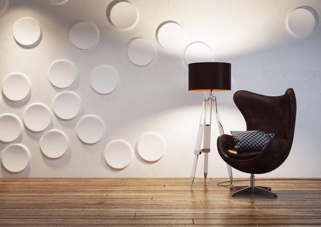 Отделка стен круглые панелями