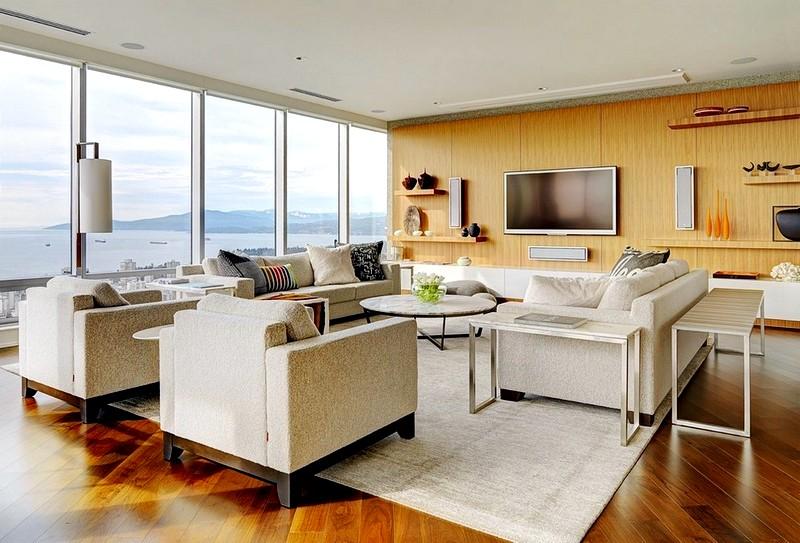 Оформление светлой гостиной в стиле модерн