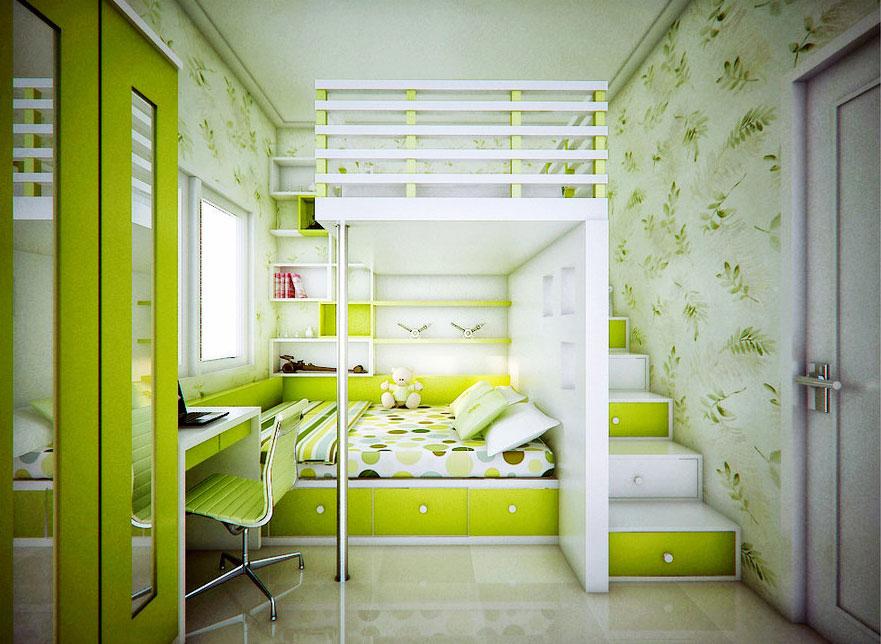 Сочный салатовый цвет в детской спальне