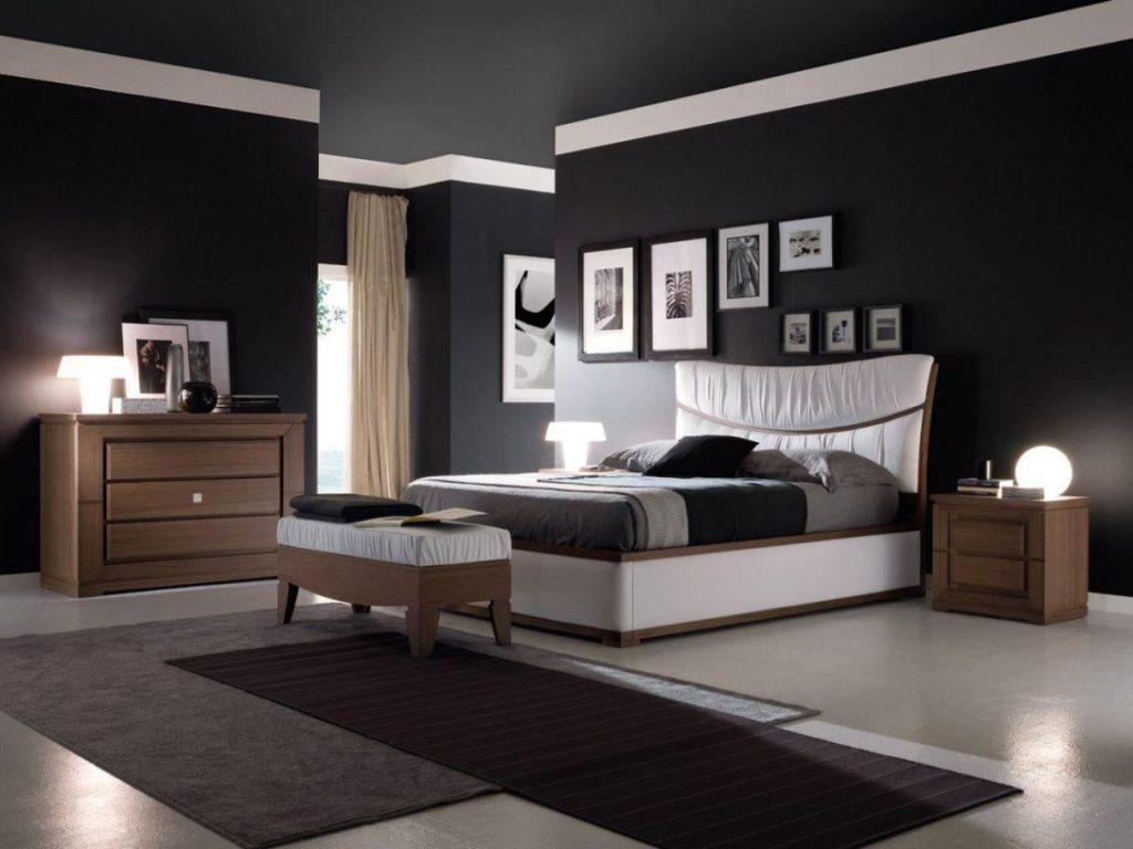 Спальная комната в темной цветовой гамме и минималистским дизайном