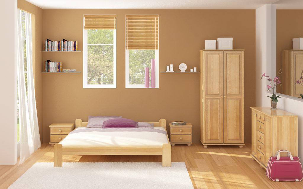 Спальня с отделкой и мебелью из дерева
