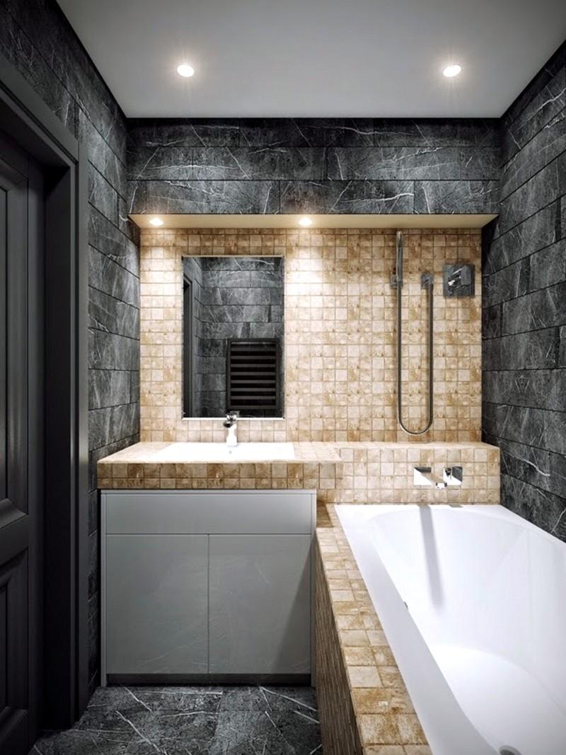 Стильный дизайн небольшой ванной комнаты