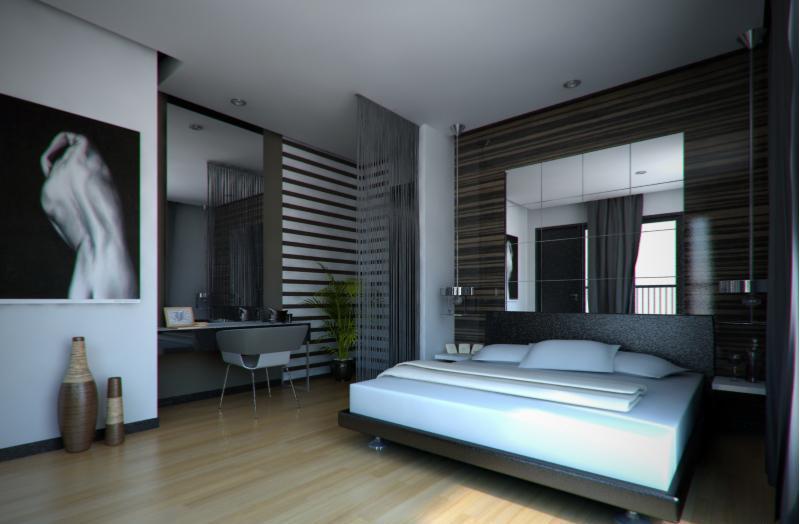 Строгая спальная комната в серых тонах