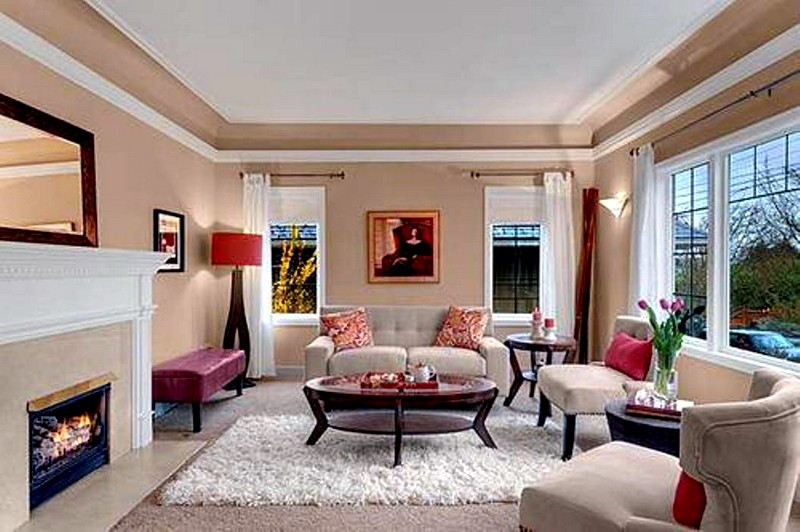 Цвет слоновой кости в интерьере гостиной