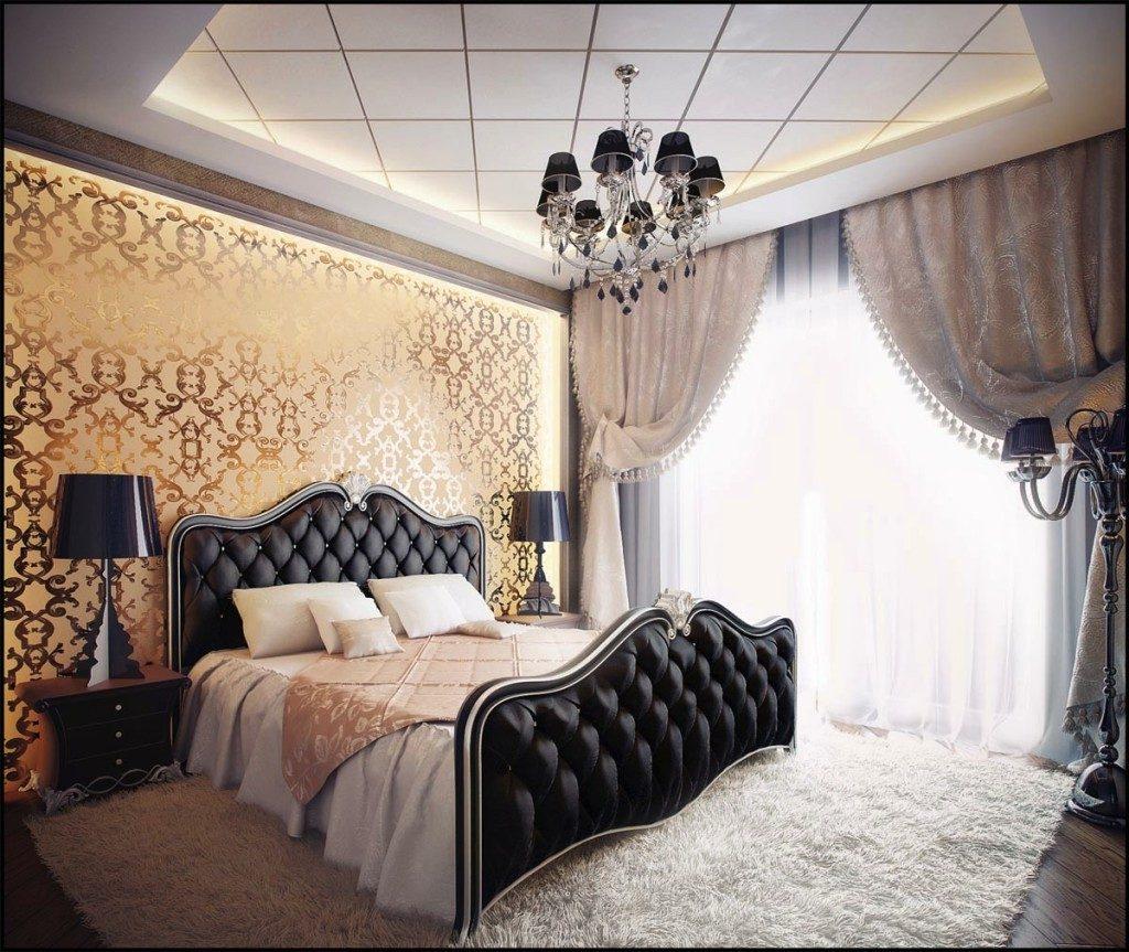 Эксклюзивный дизайн мебели в сочетании с золотыми красками - интересный выбор для спальни