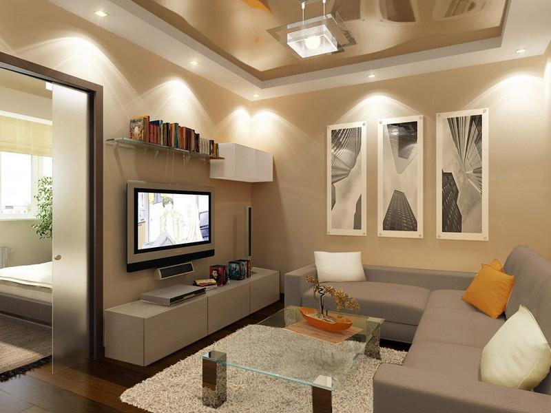 Дизайн двухкомнатной квартиры в хрущевке в бежевых тонах