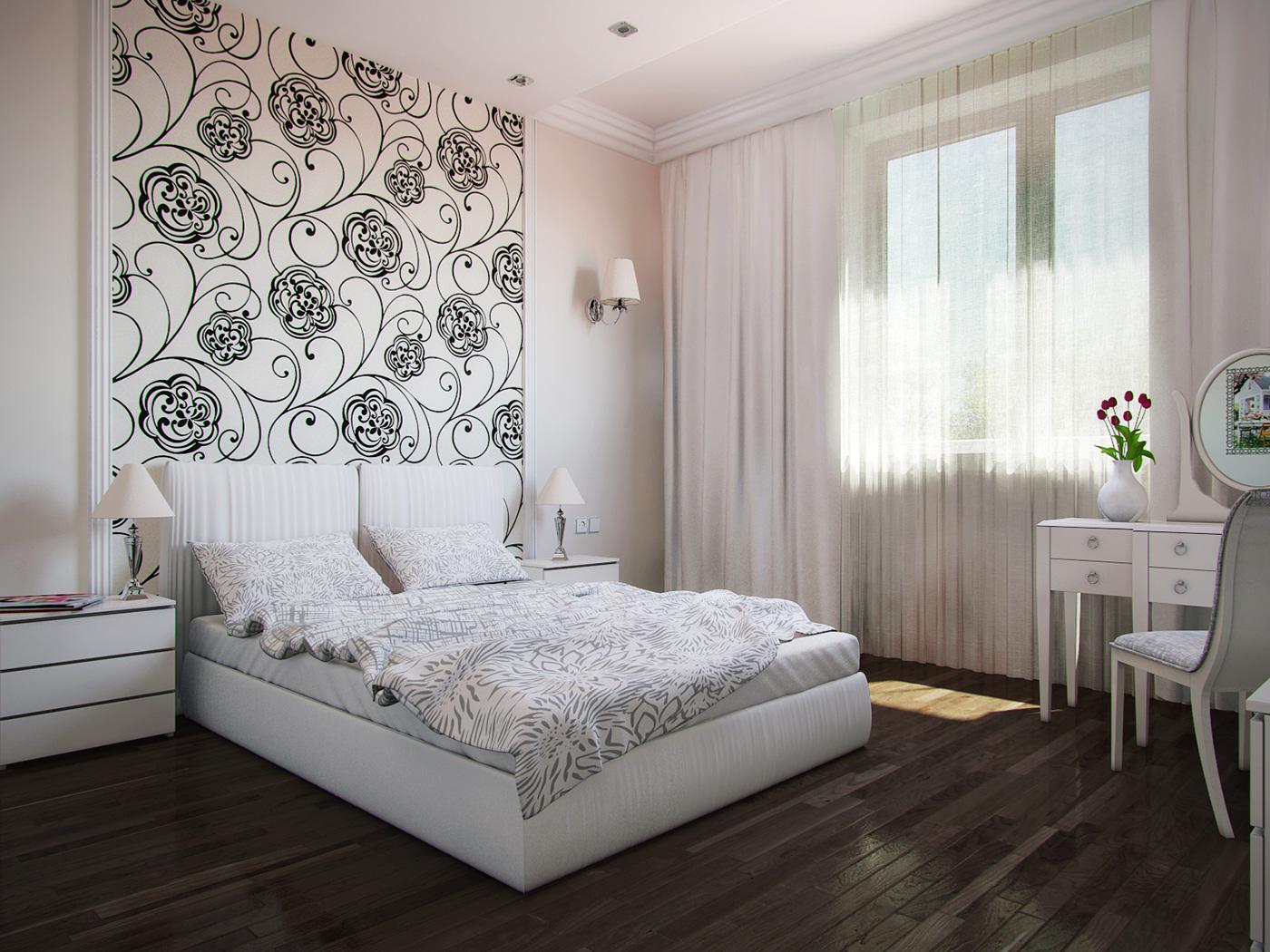 Дизайн обоев в спальной комнате