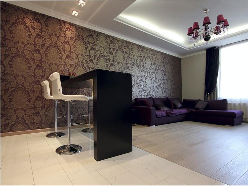 Использование барной стойки в интерьере гостиной