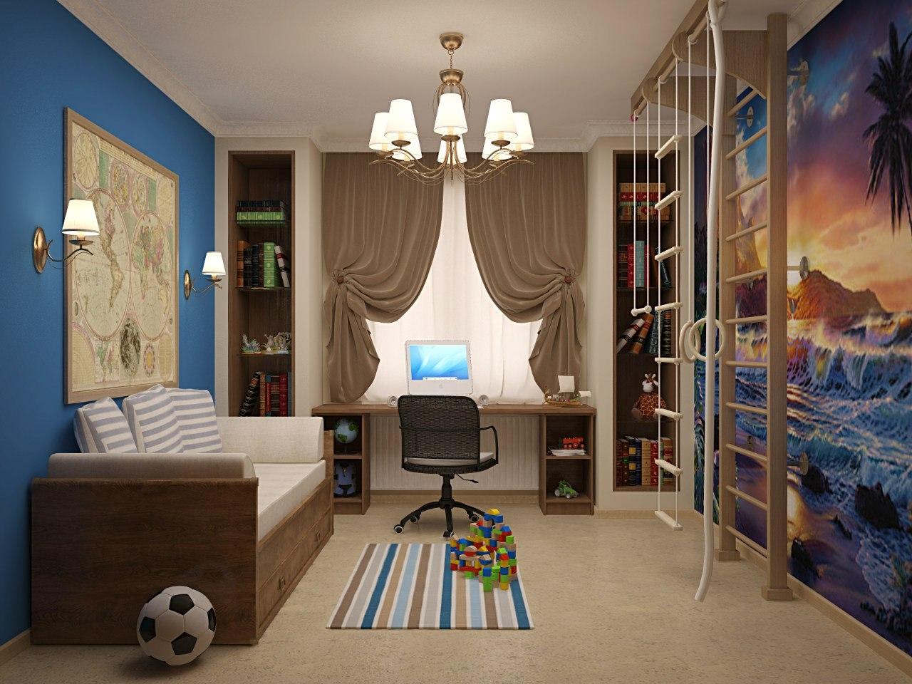 Дизайн детской комнаты для мальчика со спортивным уголком