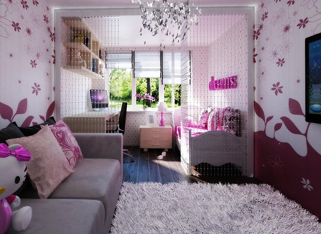 Обои с цветочками в комнате для девушки