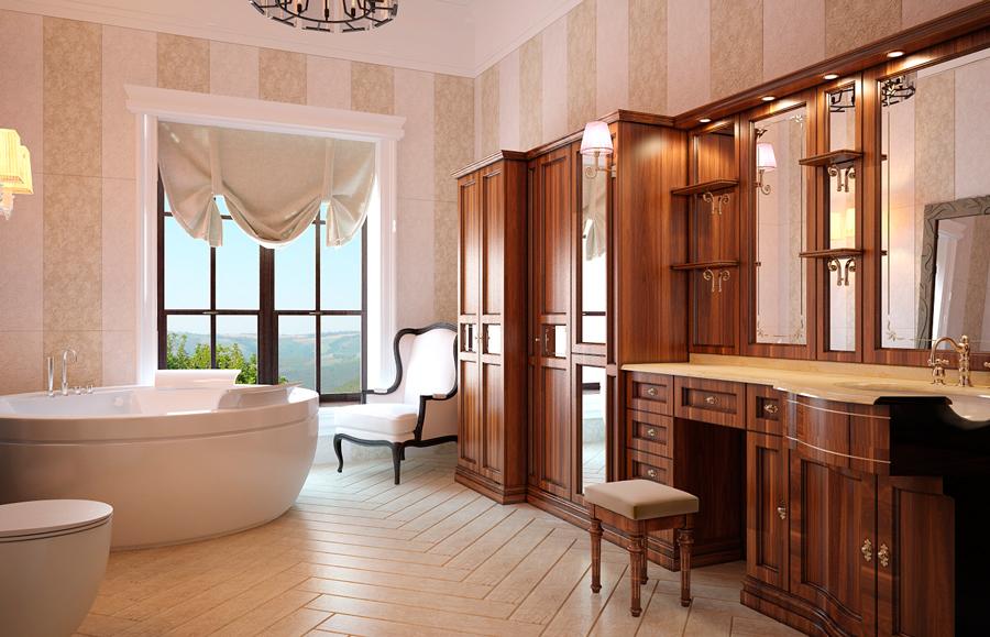 Интерьер ванной комнаты в английском стиле в светлых тонах