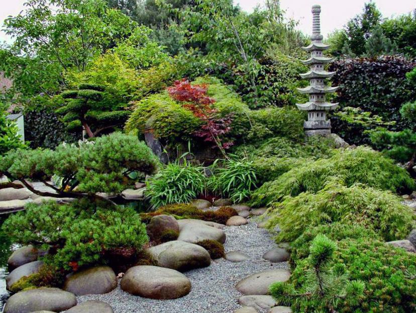 Ландшафтный дизайн в японском стиле с применением декоративного щебня