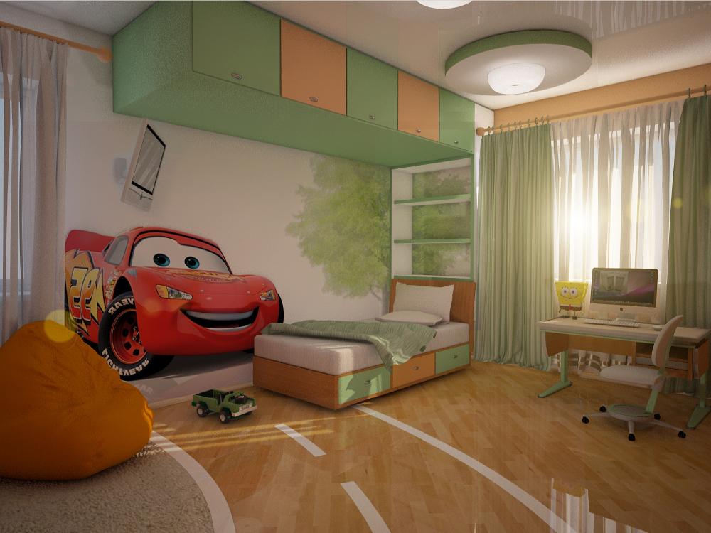 Просторная комната для мальчиков с мультяшными героями