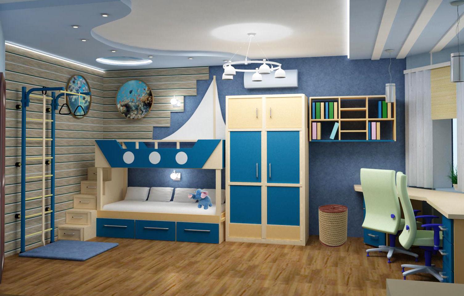 функциональный интерьер детской комнаты для мальчиков фото