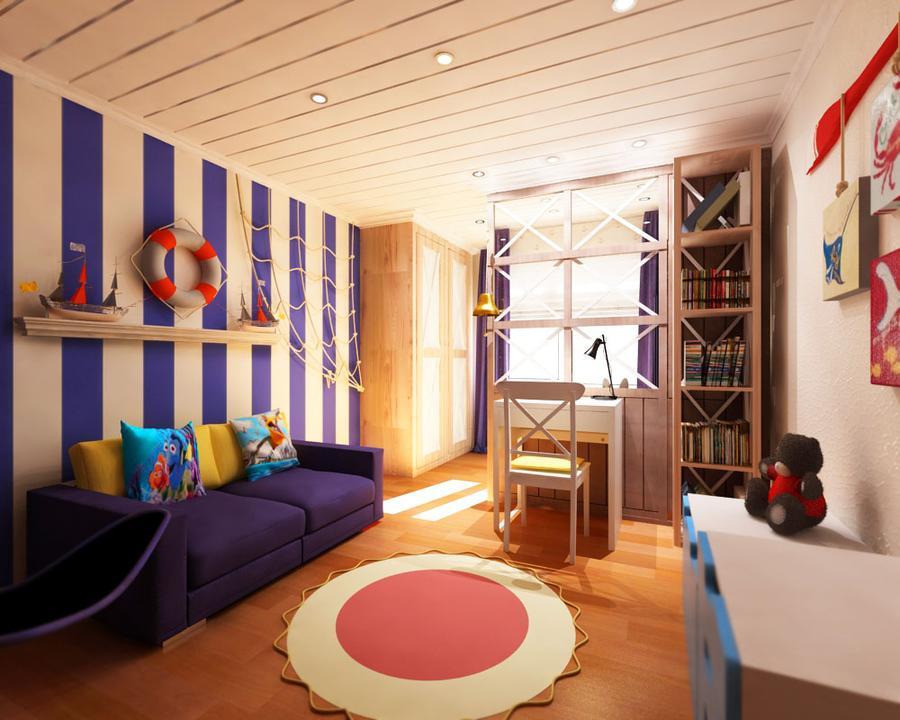 Интерьер детской комнаты для мальчика в бело-синих тонах