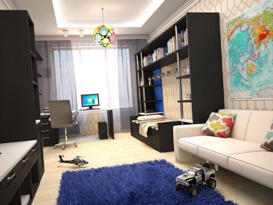 Интерьер детской комнаты для мальчика в черно-белых тонах