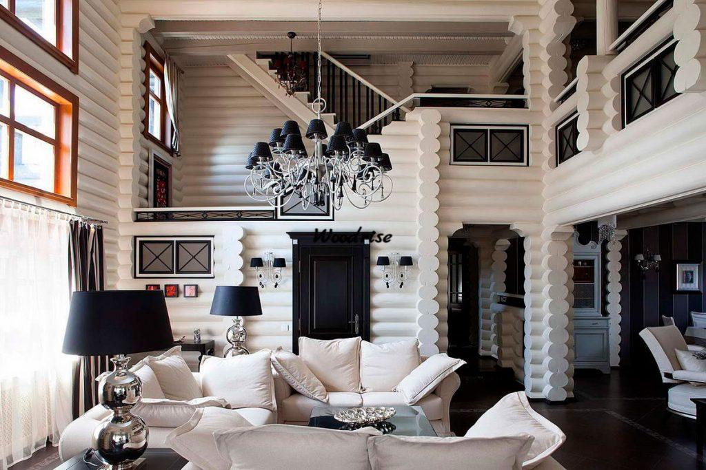 Дизайн внутри частного деревенского дома в белом цвете