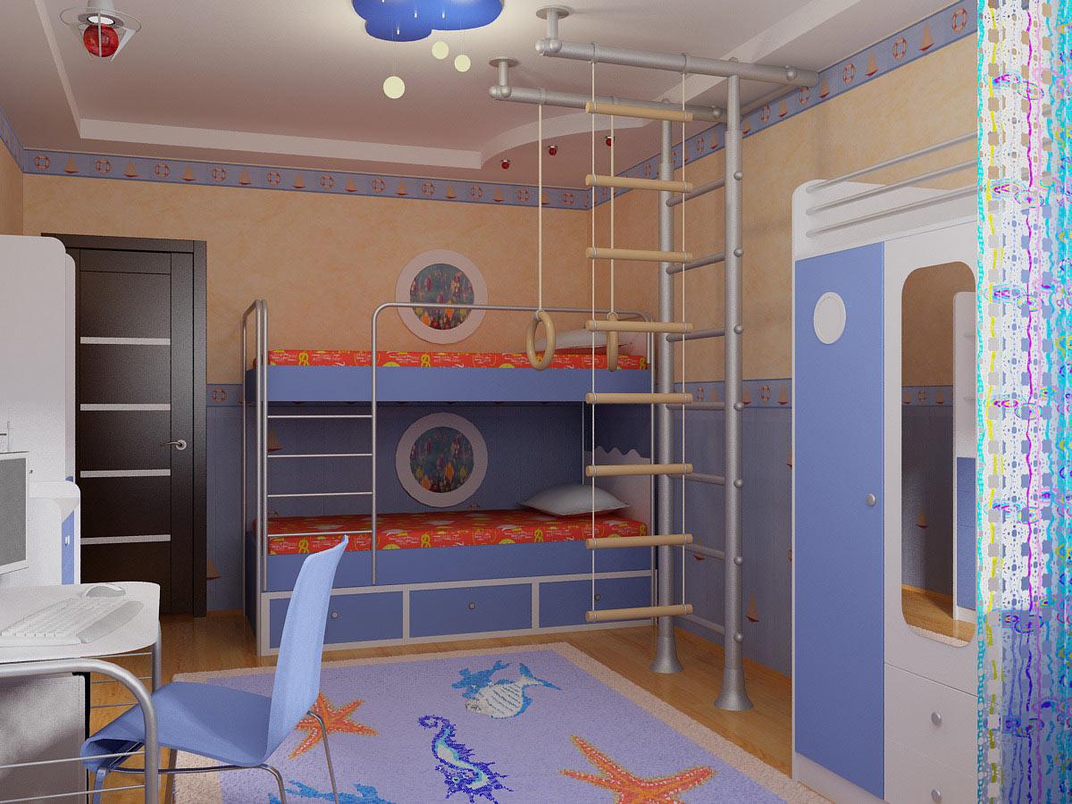 Интерьер детской комнаты для мальчиков со спортивным уголком