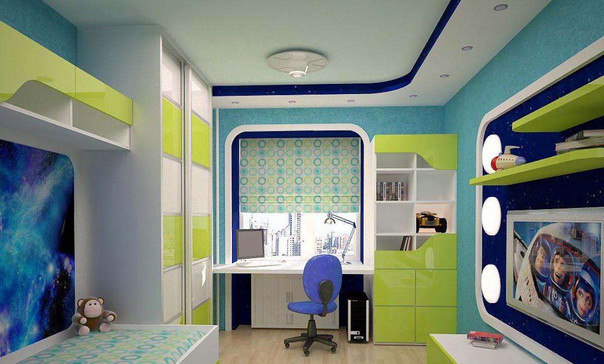 Рабочее место в детской комнате для мальчиков