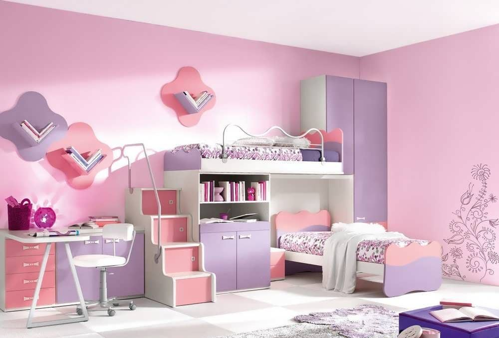 Модульная мебель в детскую комнату для двух девочек