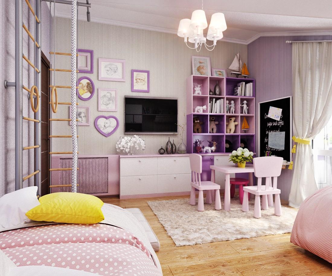 Дизайн детской комнаты для девочек с телевизором