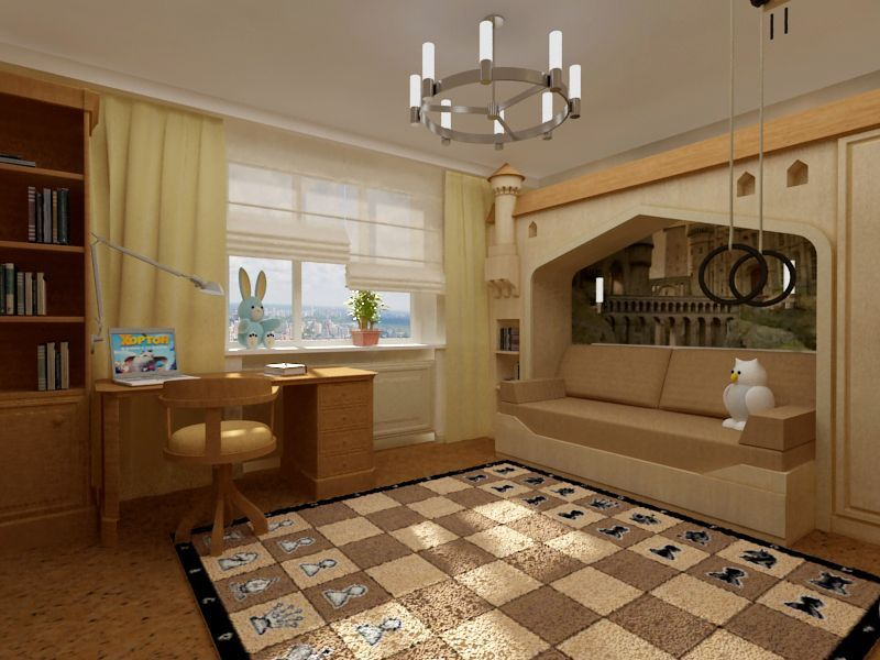 Дизайн детской комнаты для мальчиков в коричневых тонах