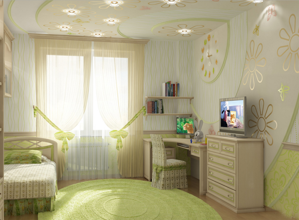 Точечные светильники в комнате для девочек