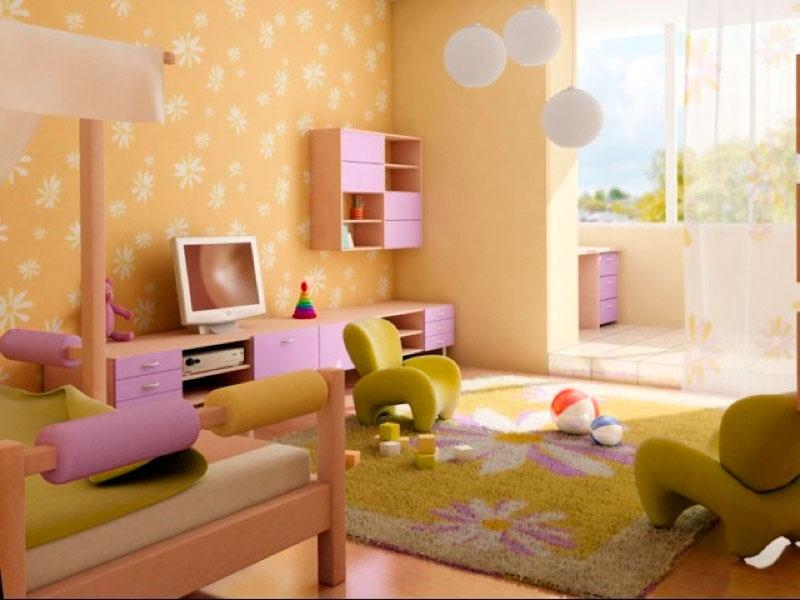 Интерьер детской комнаты для девочки в персиковых тонах