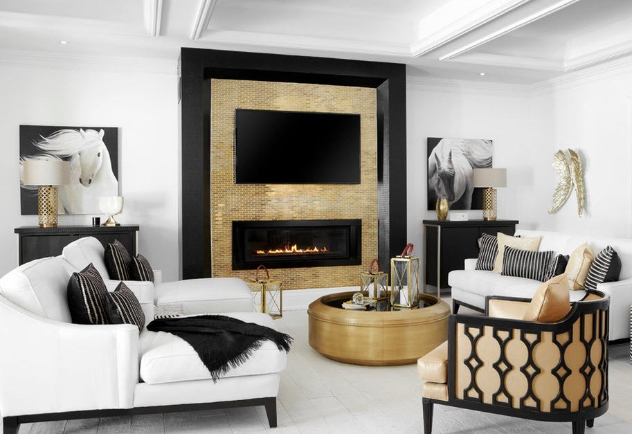 Интерьер гостиной с камином и телефизором в стиле модерн