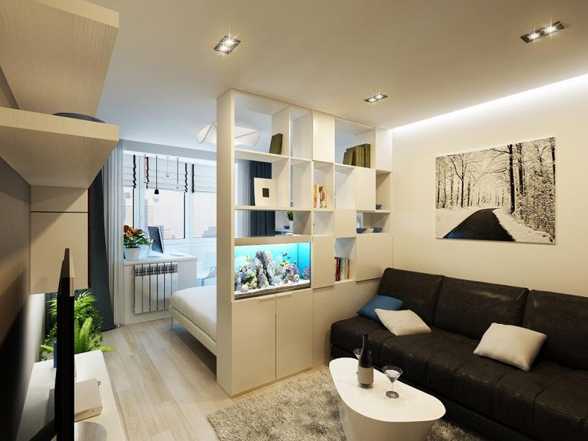 Перегородка с аквариумом для зонирования гостиной и спальни