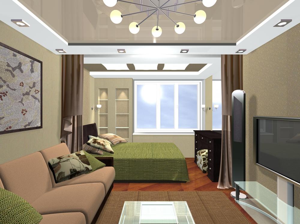 Интерьер узкой гостиной-спальни в пастельных тонах