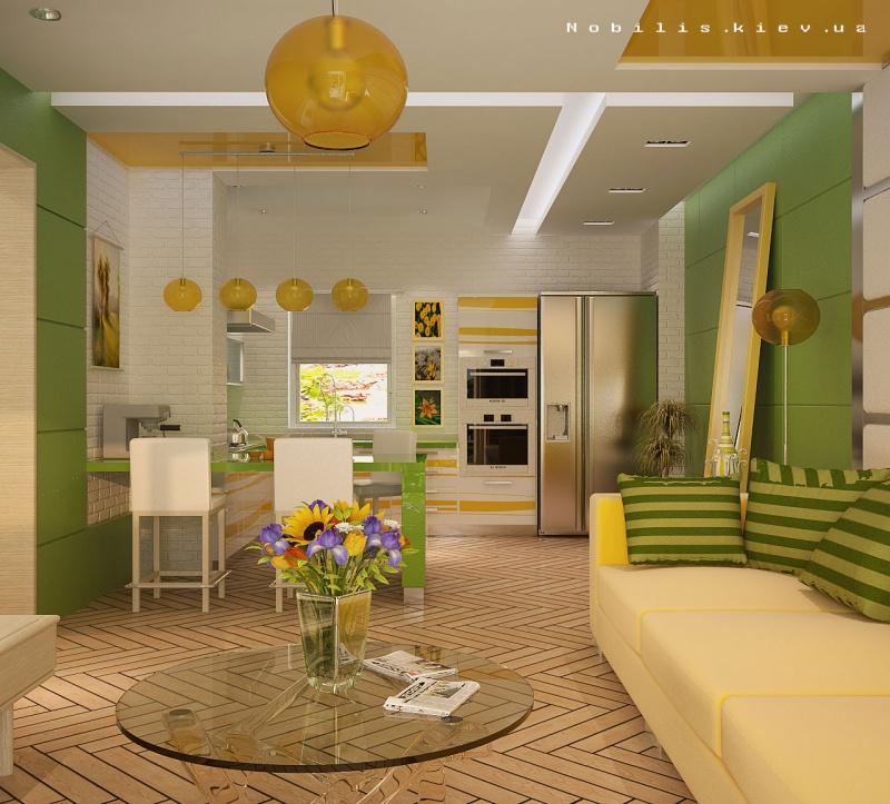 Фото интерьера кухни-гостиной в частном доме