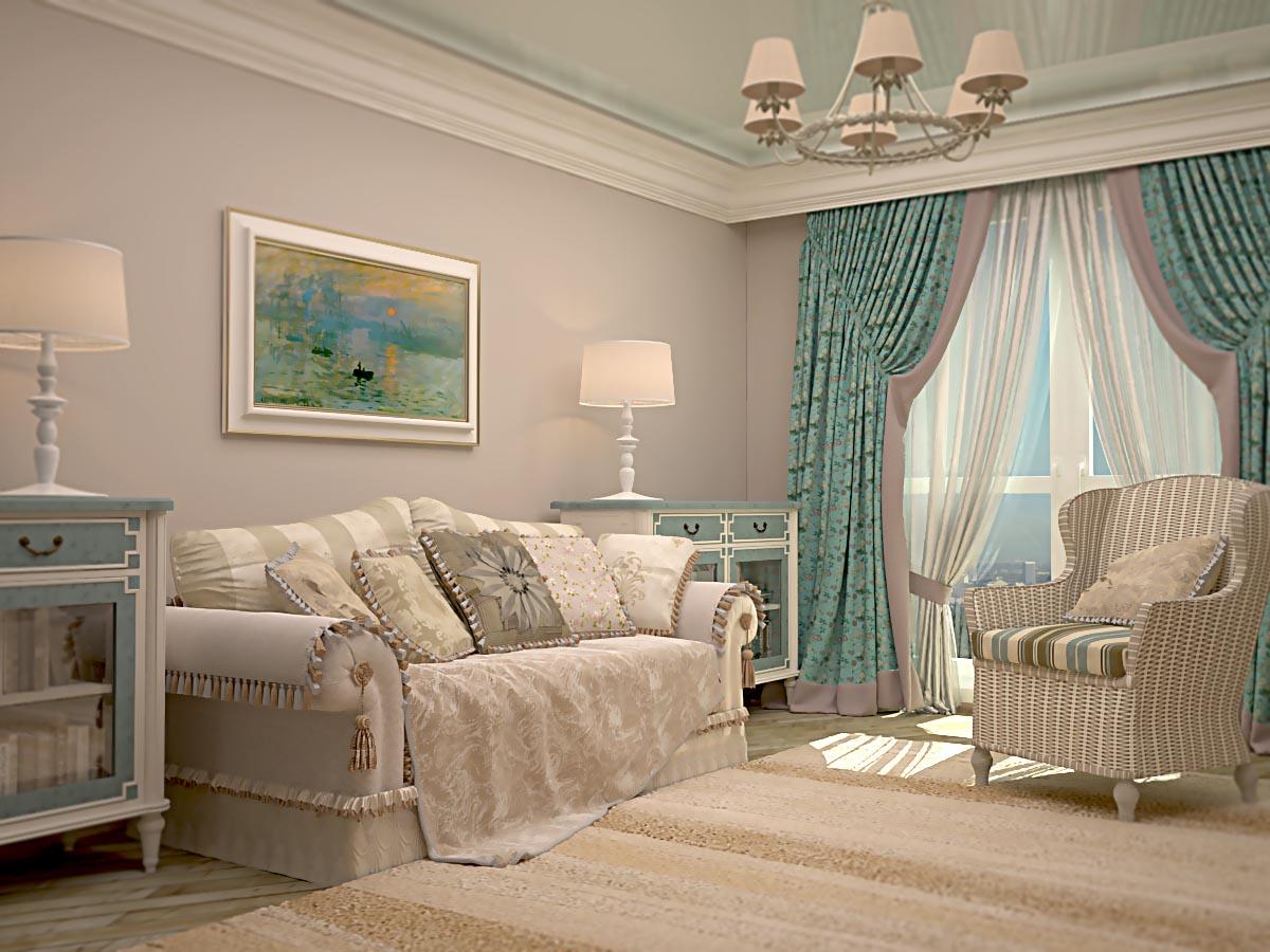 Интерьер гостиной в хрущевке в стиле прованс