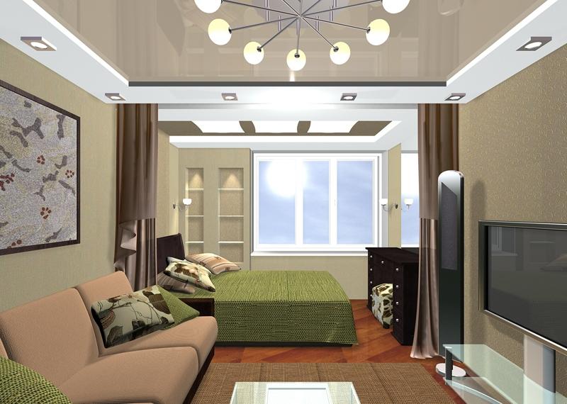 Совмещение гостиной и спальни в квартире