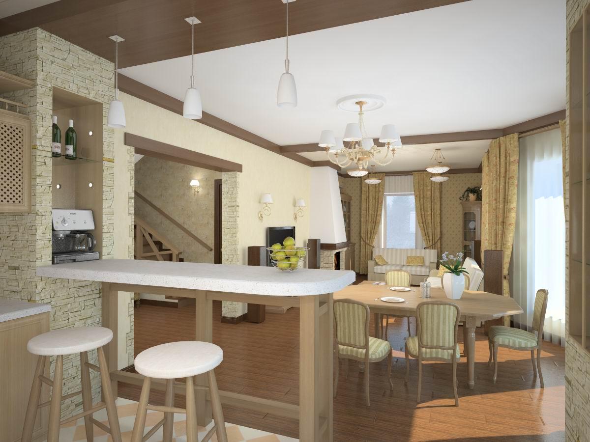Расширение пространства маленькой квартиры при помощи объединения гостиной и кухни