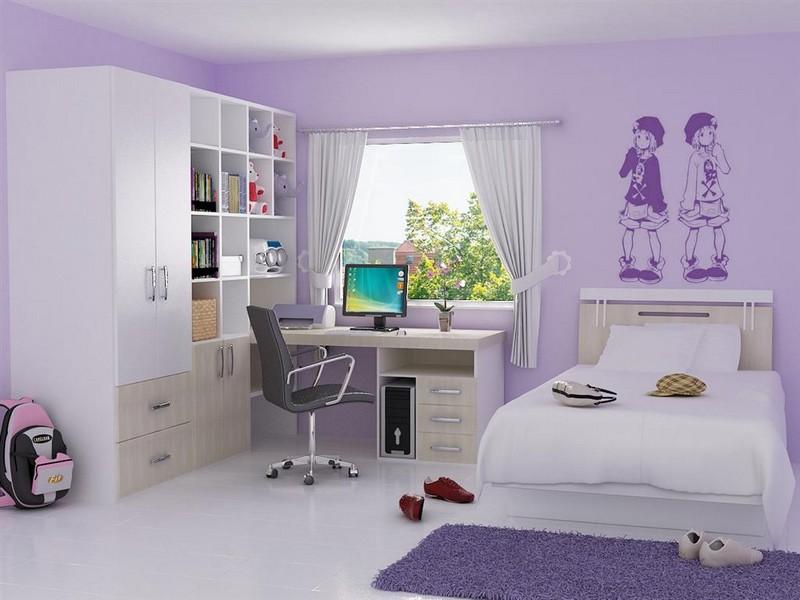 Рабочая зона в комнате для девушки