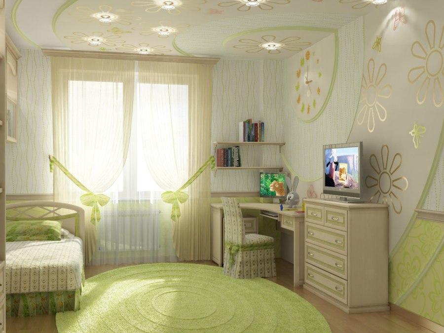 Интерьер комнаты для девушки в бело-зеленых тонах