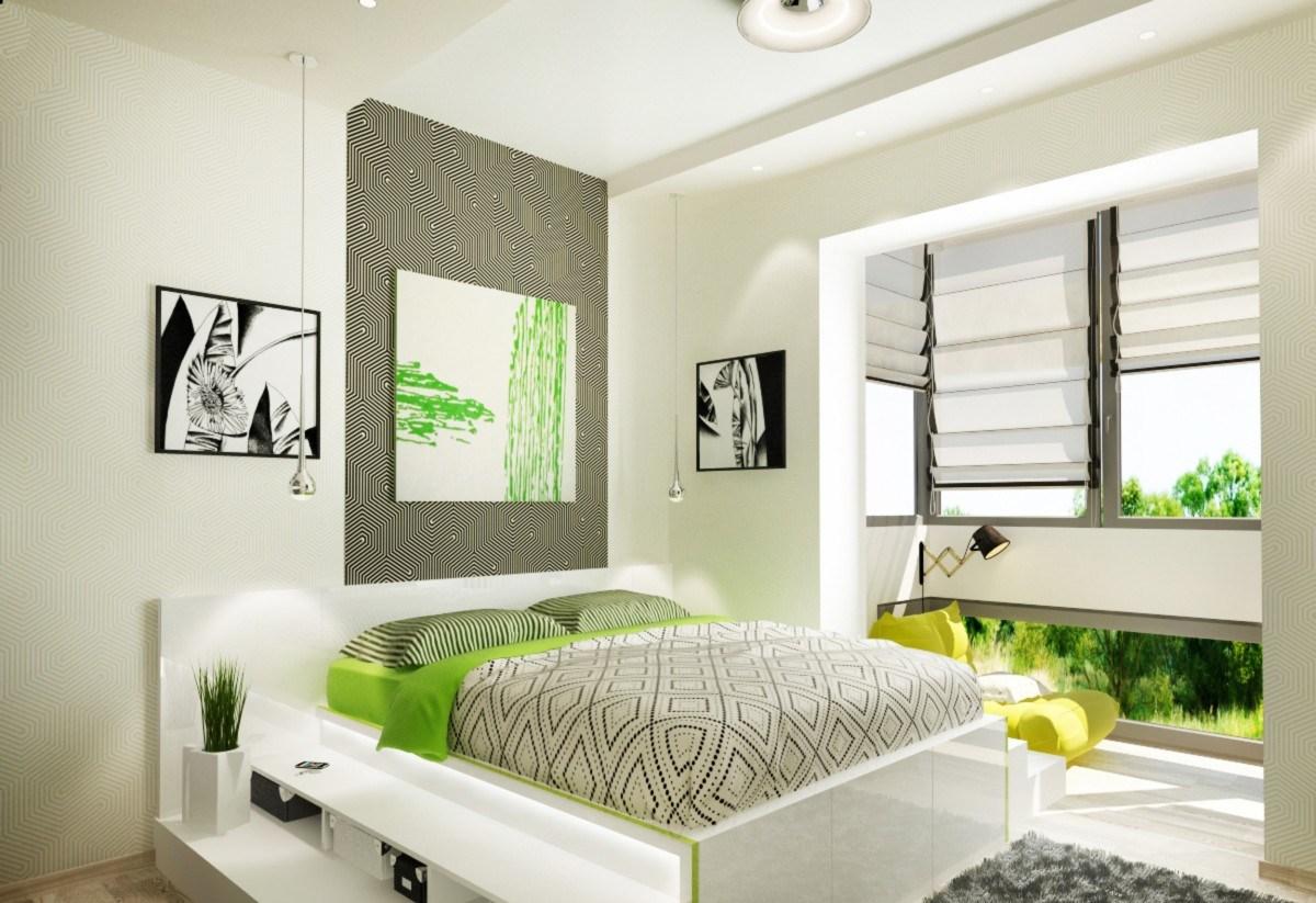 Спальня в эко-стиле в белых тонах