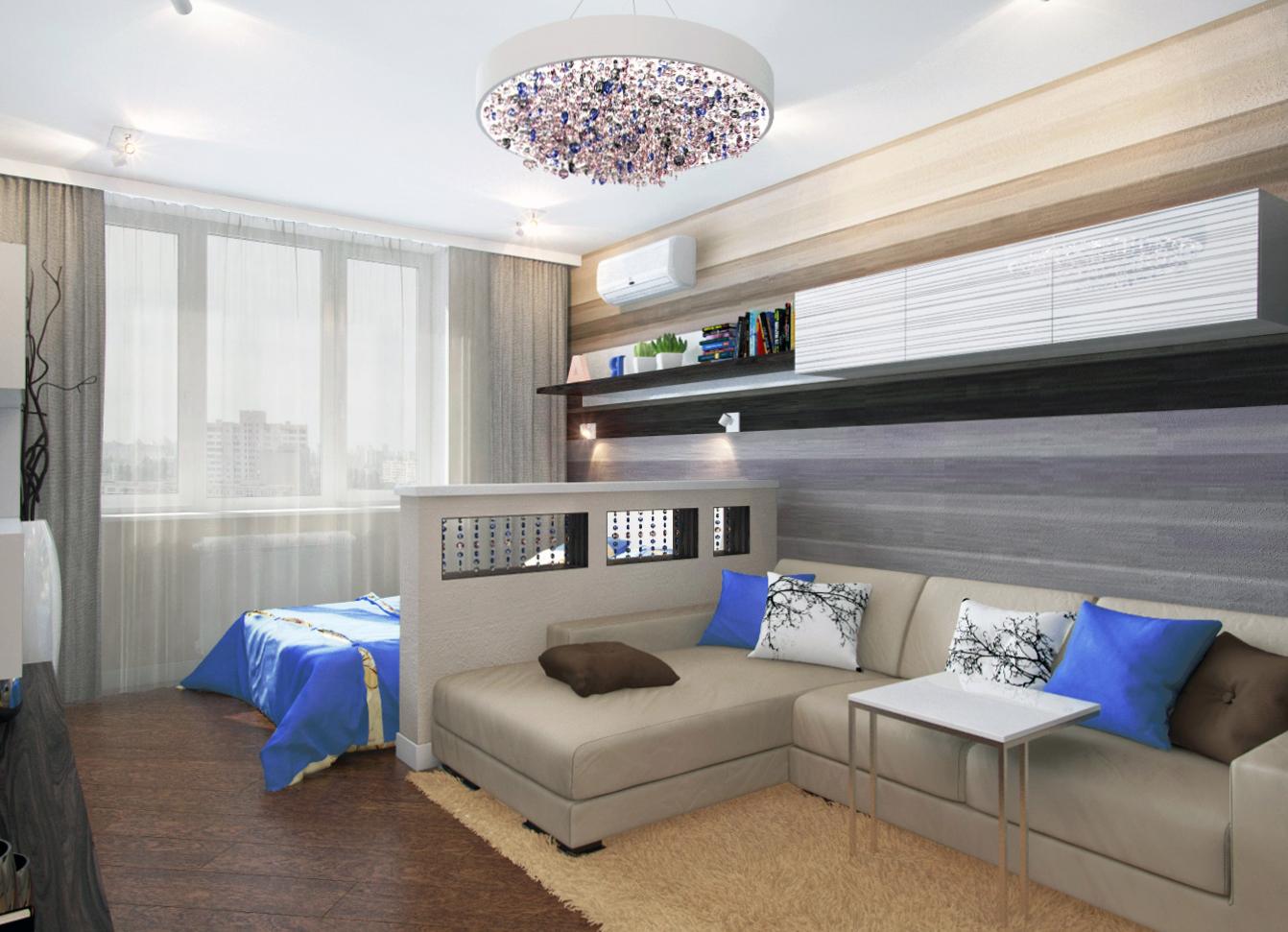 Зонирование гостиной и спальни в маленькой квартире