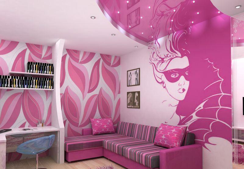Гламурный дизайн спальни для девочки-подростка