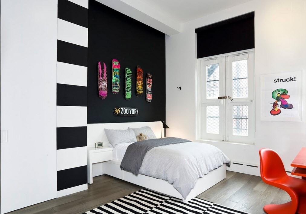 Дизайн комнаты для девочки-подростка в черно-белых тонах