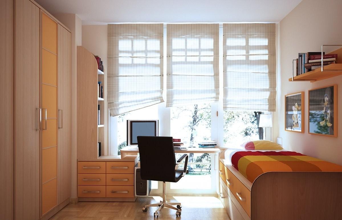 Римские шторы в интерьере комнаты для девочки-подростка