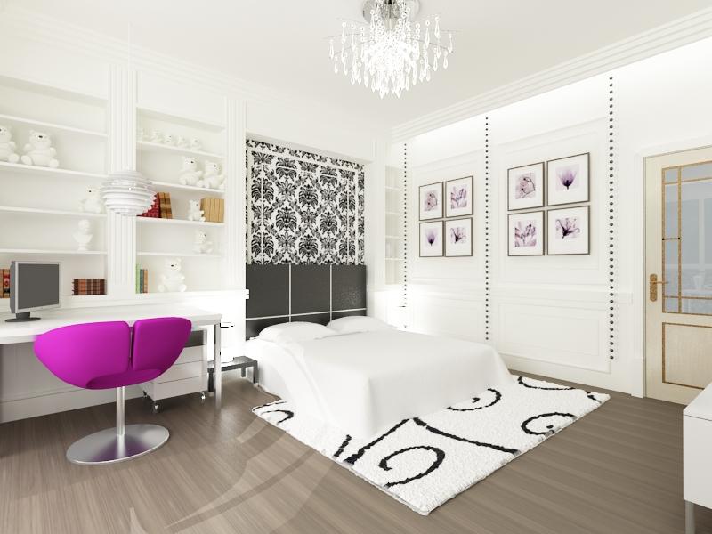 Белоснежный дизайн комнаты для девочки-подростка