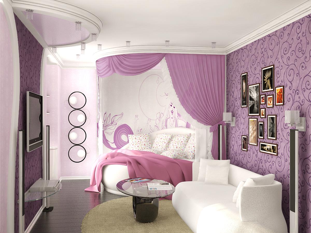 Угловая двуспальная кровать в комнате для девочки-подростка