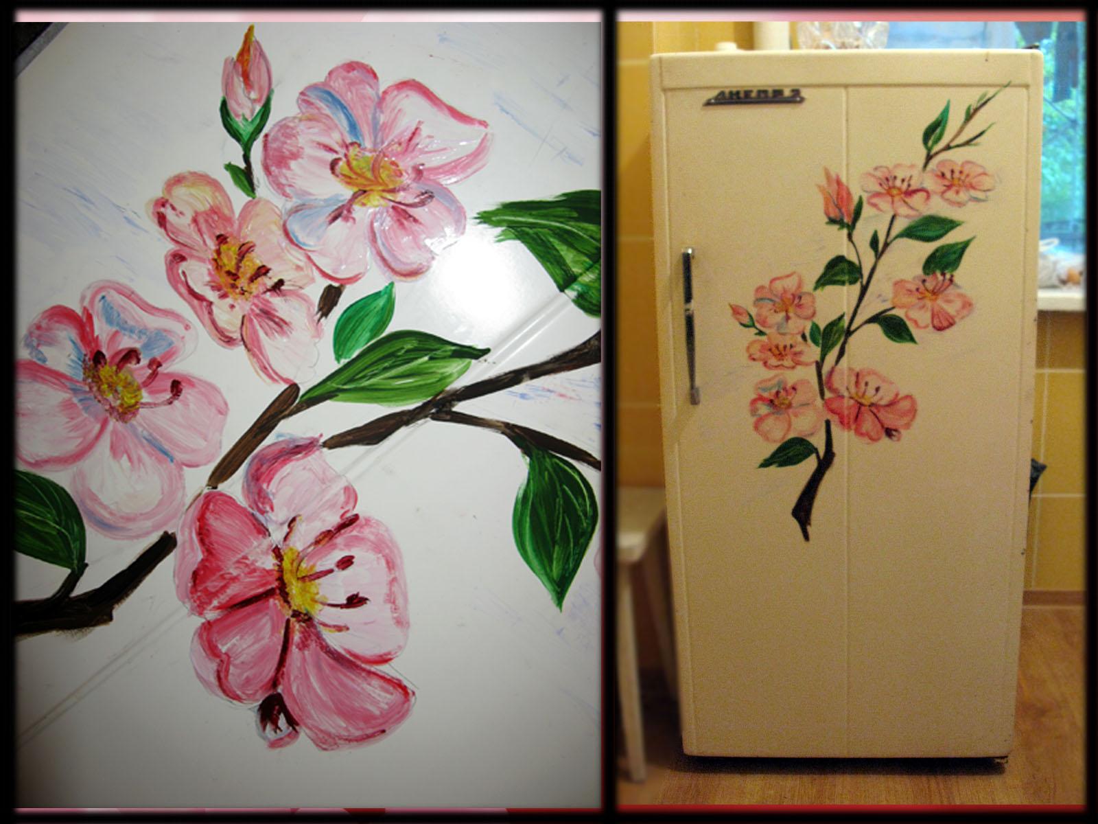 Оригинальность придает роспись и окрашивание корпуса холодильника